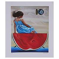 Giclee print on canvas, 'Seafarers' - Signed Giclee Print of a Girl on a Watermelon from Mexico