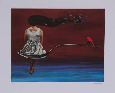 Giclee print on canvas, 'Equilibrium' - Signed Giclee Print of a Girl with a Cardinal from Mexico