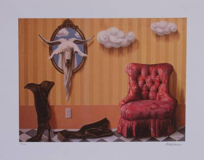 Giclee print on canvas, 'The Mirror' - Signed Animal-Themed Surrealist Giclee Print from Mexico