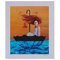 Giclee print on canvas, 'Navigators' - Signed Giclee Print of a Girl in an Umbrella from Mexico