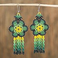 Glass beaded waterfall earrings, 'Green Raining Flowers' (Mexico)