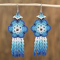 Glass beaded waterfall earrings, 'Blue Raining Flowers' (Mexico)