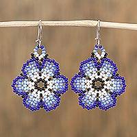 Glass beaded dangle earrings, 'Royal Flowers' - Glass Beaded Floral Dangle Earrings in Blue from Mexico