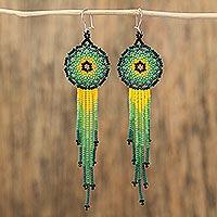 Glass beaded waterfall earrings, 'Verdant Rain' (Mexico)