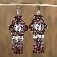 Glass beaded waterfall earrings, 'Dark Raining Flowers' (Mexico)