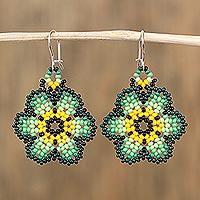 Glass beaded dangle earrings, 'Countryside Flowers' (Mexico)