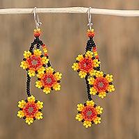 Glass beaded dangle earrings, 'Fiery Stars' (Mexico)
