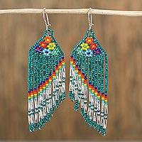Glass beaded waterfall earrings, 'Rainbow Waters' (Mexico)