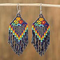 Glass beaded waterfall earrings, 'Rainbow Style' (Mexico)