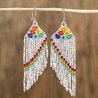 Glass beaded waterfall earrings, 'Shower of Colors' - Colorful Glass Beaded Waterfall Earrings from Mexico