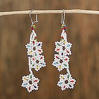 Glass beaded dangle earrings, 'Snowy Rainbow' (Mexico)