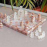 Onyx and marble chess set, 'Pink and Ivory Challenge' - Onyx and Marble Chess Set in Pink and Ivory from Mexico