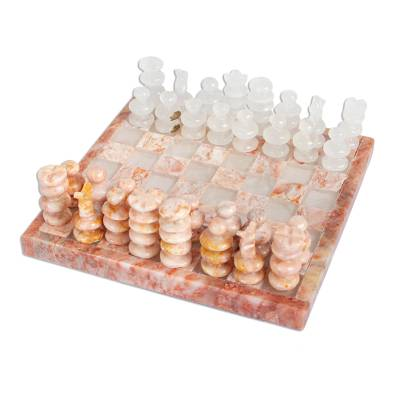 Onyx and Marble Chess Set in Pink and Ivory from Mexico