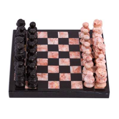 Marble Chess Set in Black and Pink from Mexico