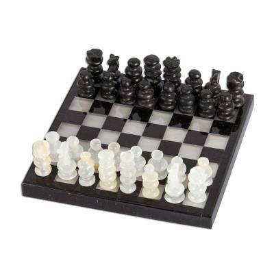 Onyx and Marble Chess Set in Black and Ivory (5 in.)