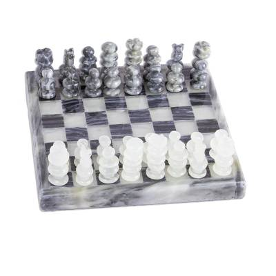 Onyx and Marble Chess Set in Grey and Ivory from Mexico
