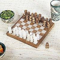 Onyx and marble mini chess set, 'Brown and Ivory Challenge' - Onyx and Marble Mini Chess Set in Brown and Ivory