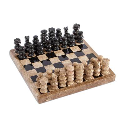 Handcrafted Marble Chess Set in Brown from Mexico (5 in.)