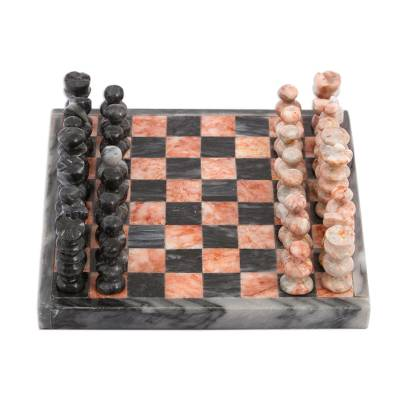 Handcrafted Mini Marble Chess Set in Pink and Grey