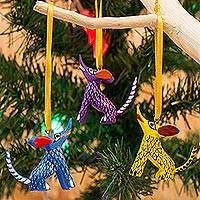 Wood alebrije ornaments, 'Sweet Coyotes' (set of 5) - Wood Alebrije Coyote Ornaments (Set of 5) from Mexico