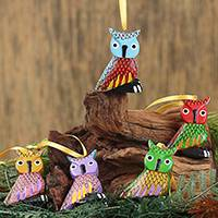 Wood alebrije ornaments, 'Sweet Owls' (set of 5) - Painted Wood Alebrije Owl Ornaments (Set of 5) from Mexico