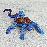 Wood alebrije sculpture, 'Blue Iguana' - Hand Crafted Folk Art Iguana Alebrije Sculpture from Mexico
