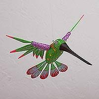 Wood alebrije, 'Vibrant Hummingbird' - Hummingbird Alebrije Sculpture Hand Crafted in Oaxaca