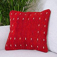 Wool cushion cover, 'Dotted Passion in Red' - Handwoven Wool Cushion Cover in Red from Mexico