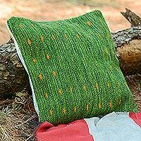 Wool cushion cover, 'Dotted Passion in Green' - Handwoven Wool Cushion Cover in Green from Mexico