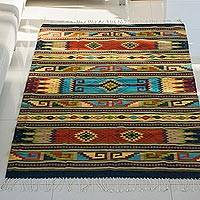 Wool area rug, 'Stripes and Tradition' (5x8) - Handwoven Striped Wool Area Rug (5x8) from Mexico