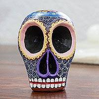 Wood figurine, 'Blue Death' - Artisan Crafted Blue Wood Skull Figurine from Mexico