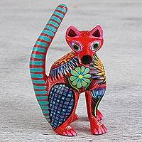 Wood alebrije statuette, 'Orion Cat' - Hand Carved and Painted Cat Alebrije Figurine