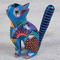 Wood alebrije statuette, 'Neptune Looking at the Sky' - Artisan Crafted Wooden Cat Alebrije Figurine from Oaxaca