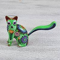 Wood alebrije statuette, 'Star Cat' - Green Cat Alebrije Statuette Hand Carved from Copal Wood
