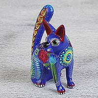 Wood alebrije statuette, 'Galactic Cat' - Handmade Wood Alebrije Statuette of a Cat from Mexico