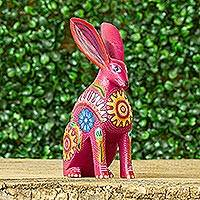 Wood alebrije figurine, 'Jackrabbit' - Hand Crafted Copal Wood Multi-Colored Rabbit Alebrije
