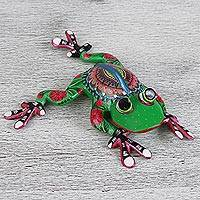 Wood alebrije, 'Frog Whimsy' - Hand Crafted Copal Wood Multi-Colored Frog Alebrije