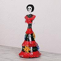 Papier mache and ceramic statuette, 'Catrina in Flowered Dress' - Mexican Flowered Papier Mache and Ceramic Catrina Statuette
