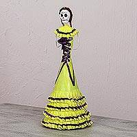 Papier mache and ceramic statuette, 'Catrina in Cross-Laced Dress' - Papier Mache and Ceramic Catrina Statuette in Yellow Dress
