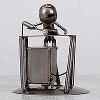 Upcycled metal auto part sculpture, 'Concentrating Welder' - Upcycled Metal Auto Part Sculpture of a Welder from Mexico