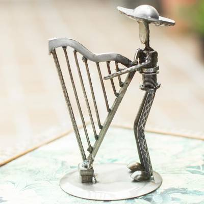 Upcycled metal auto sculpture, 'Harpist' - Upcycled Metal Auto Sculpture of a Harpist from Mexico