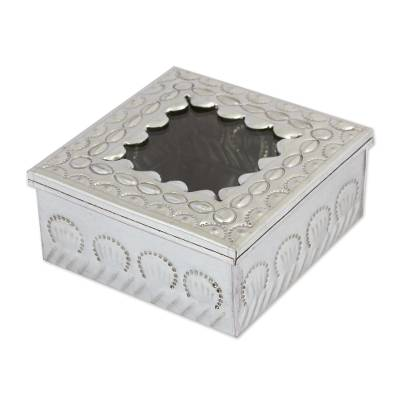 Tin and glass decorative box, 'Guarded Secrets' - Rustic Tin Decorative Box with Oval Patterns from Mexico