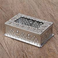 Tin and glass decorative box, 'Journey to Heaven' - Handcrafted Tin Decorative Box with Glass from Mexico