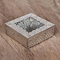 Tin and glass decorative box, 'Rocky Mountains' - Pyramid Motif Tin and Glass Decorative Box from Mexico