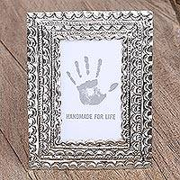 Embossed tin photo frame, 'Captured Memories' (3.5x5) - Artisan Crafted Tin Photo Frame (3.5x5) from Mexico