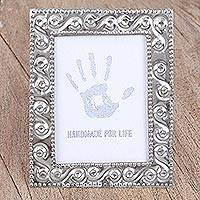 Tin photo frame, 'Valuable Moment' (2x3) - Handcrafted Rustic Tin Photo Frame (2x3) from Mexico
