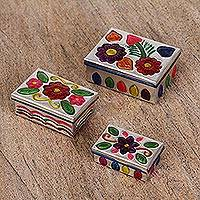 Tin nesting boxes, 'Floral Guardians' (set of 3) - Three Hand-Painted Floral Tin Nesting Boxes from Mexico