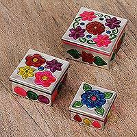 Tin nesting boxes, 'Floral Companions' (set of 3) - Three Tin Nesting Boxes with Floral Designs from Mexico