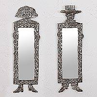 Tin mirrors, 'Pair of Catrines' (pair) - Two Skeleton Design Tin Wall Mirrors from Mexico