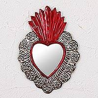 Tin wall mirror, 'Passionate Reflection' - Repousse Style Handcrafted Tin Wall Mirror from Mexico